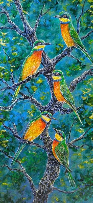Bird Bee Blue Wings Rainbow Poster featuring the painting Blue Breasted Bee Eater by Gail Butler