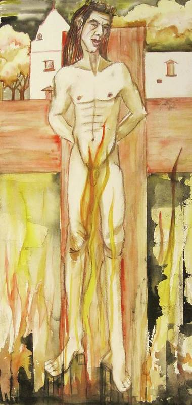 This Is A Matted And Framed Painting Of A Nude Male Figure On A Cross Planted In A Contmporary Abstracted Cityscape. Hues Of Pinks Poster featuring the painting Brimstone by Georgia Annwell