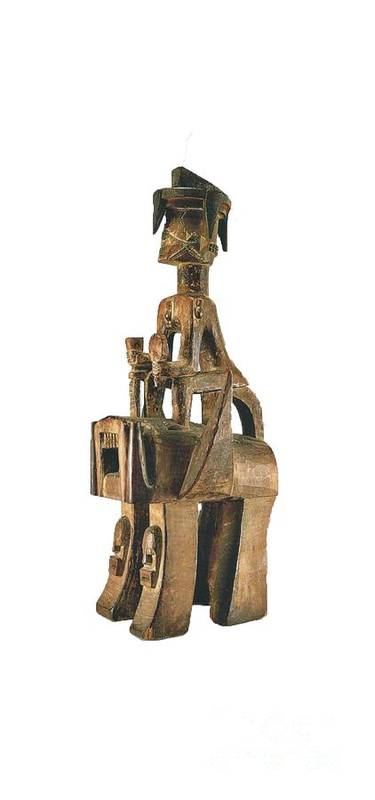 Wood Carving Of A Rider On Elephant. Object D'art From The Delta Region Of Nigeria. Circa 15th Century Ad Poster featuring the photograph Delta 7 by Chinazor Onianwah