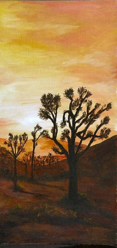 Sunset Poster featuring the painting Desert Sunset II by Merle Blair