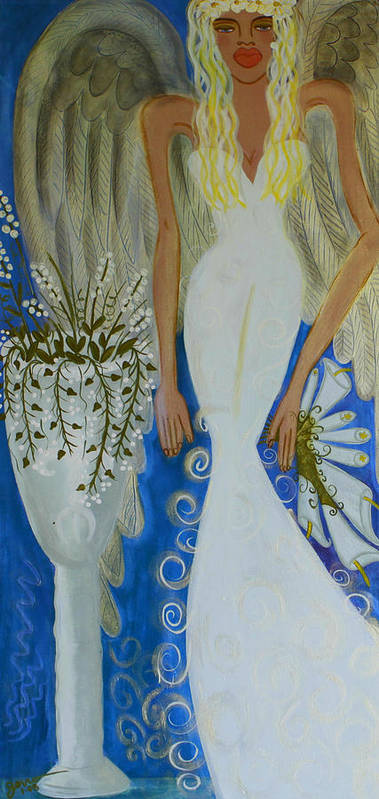 Angel Artwork Poster featuring the painting Peace And Love Angel by Helen Gerro