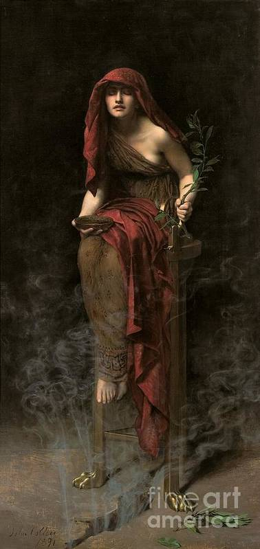 Portrait Poster featuring the painting Priestess Of Delphi by John Collier