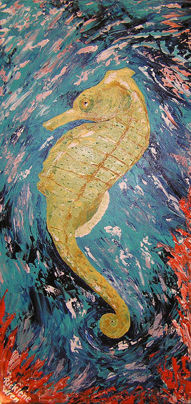 Seahorse Poster featuring the painting Seahorse Number 2 by Ricklene Wren