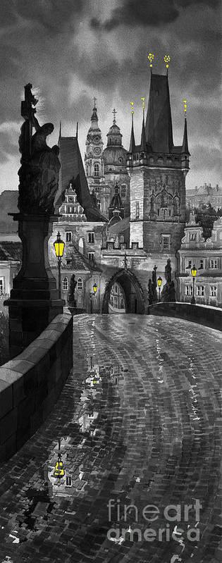 Prague Poster featuring the painting Bw Prague Charles Bridge 03 by Yuriy Shevchuk