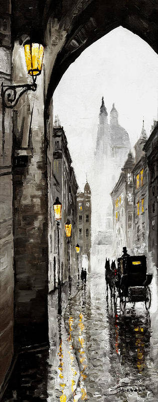Prague Poster featuring the mixed media Old Street by Yuriy Shevchuk