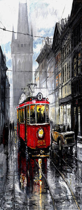 Prague Poster featuring the mixed media Red Tram by Yuriy Shevchuk