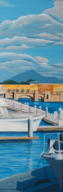 Landscape Poster featuring the painting Dock On Mandalay Bay by Illona Battaglia Aguayo