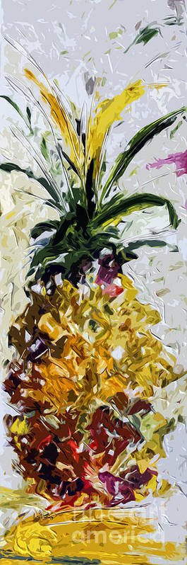 Pineapple Poster featuring the painting Pineapple Triptych Part 2 by Ginette Callaway