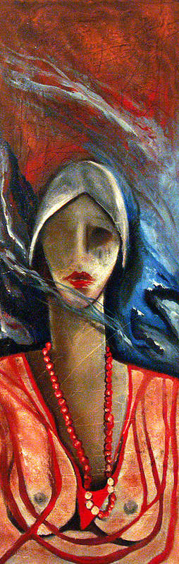 Red Pearls Woman Semi Nude Poster featuring the painting Red Pearls by Niki Sands