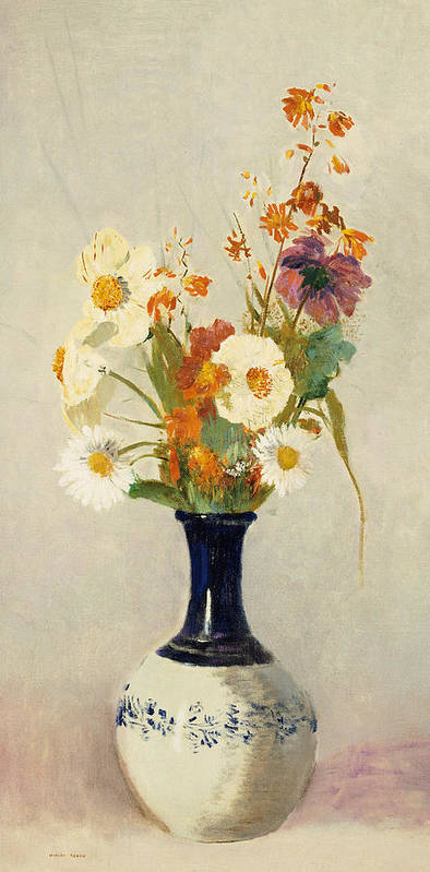 Still Life; Flower Poster featuring the painting Flowers In A Vase by Odilon Redon