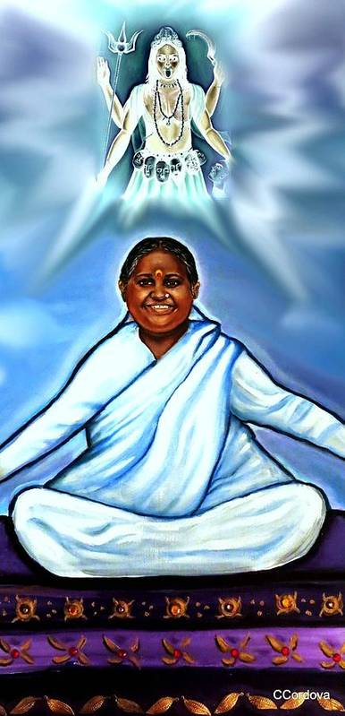 Amma Poster featuring the painting Amma And Kali by Carmen Cordova