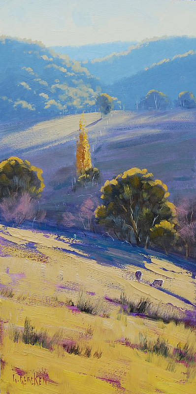 Rural Poster featuring the painting Afternoon Light Grazing by Graham Gercken