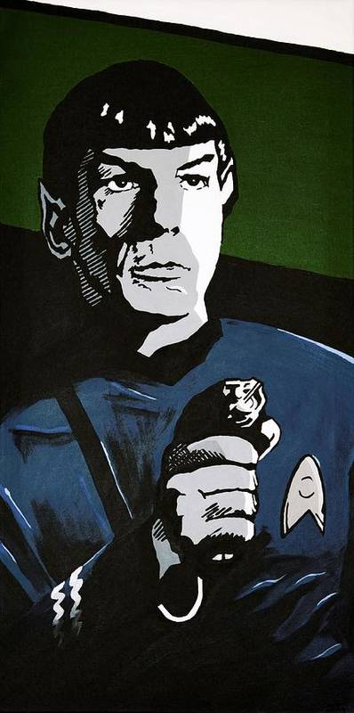 Star Trek Poster featuring the painting Aiming His Phaser by Judith Groeger