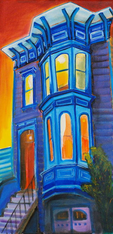 San Francisco Poster featuring the painting Blue Victorian by Nathalie Fabri