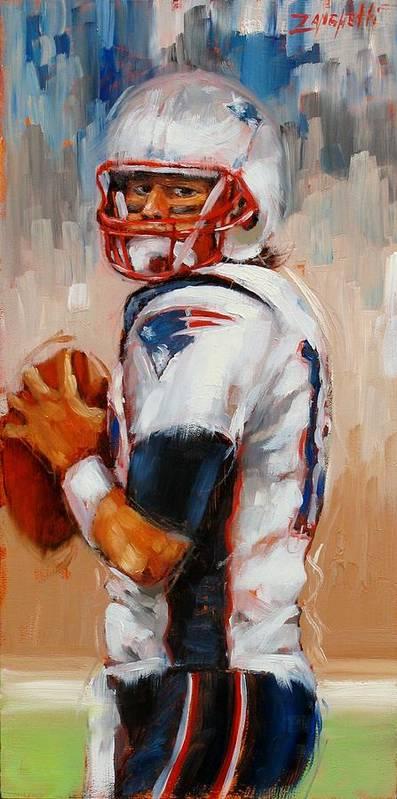 Tom Brady Poster featuring the painting Brady Boy by Laura Lee Zanghetti