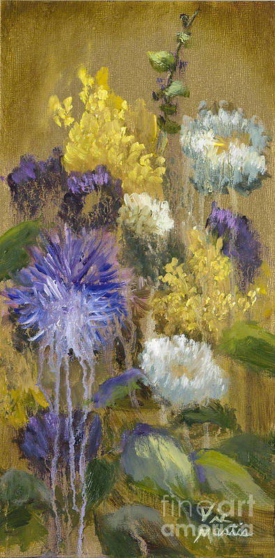 Flower Poster featuring the painting Drippy Bouquet With Gold Leaf By Vic Mastis by Vic Mastis