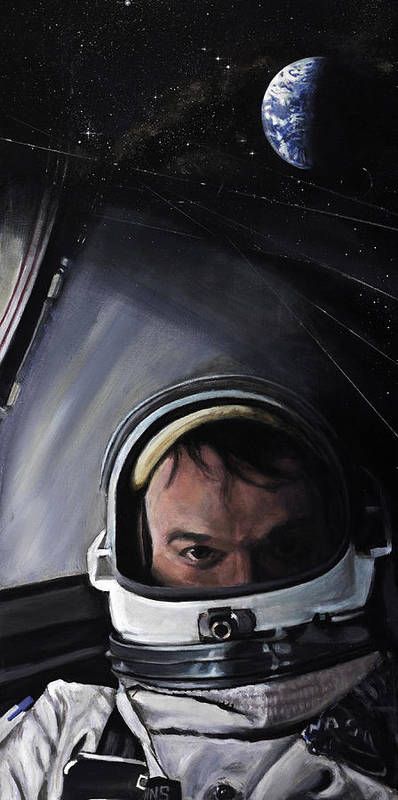 Nasa Poster featuring the painting Gemini X- Michael Collins by Simon Kregar