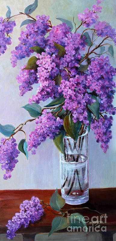 Flowers Poster featuring the painting It Is Lilac Time by Marta Styk