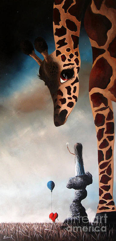 Giraffe Poster featuring the painting Kindness Is The Best Medicine By Shawna Erback by Shawna Erback