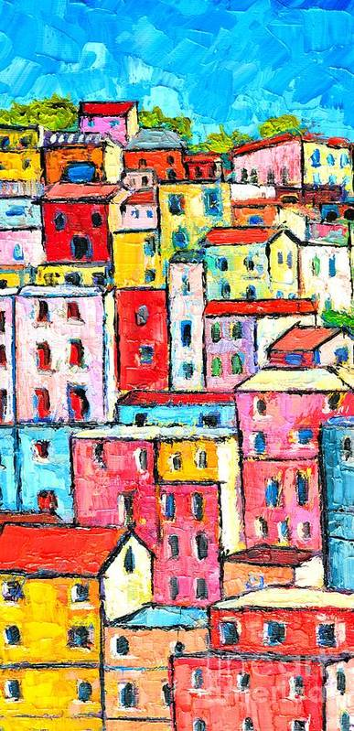 Manarola Poster featuring the painting Manarola Colorful Houses Painting Detail by Ana Maria Edulescu