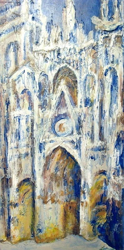 Acrylic Poster featuring the painting Monet's Cathedral by Cheryl Lynn Looker