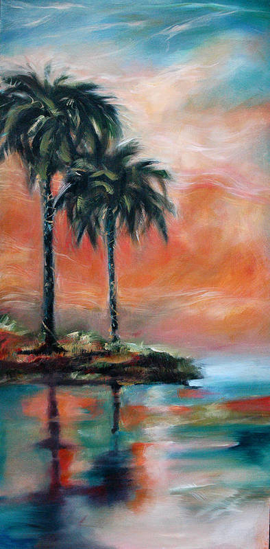 Palms Poster featuring the painting Palm Refection Sunset by Linda Olsen