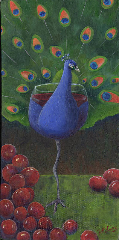 Peacock Poster featuring the painting Peacock Pinot by Debbie McCulley