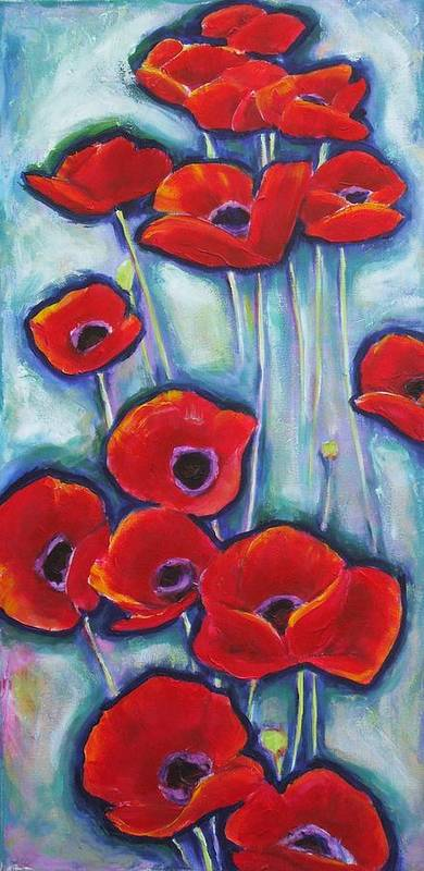 Poppy Poster featuring the painting Reaching Up by Sheila Diemert
