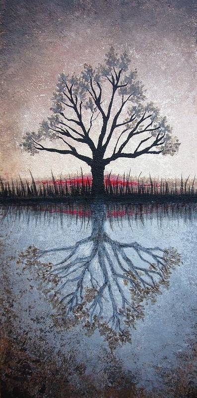 Tree Poster featuring the painting Reflecting Tree by Janet King