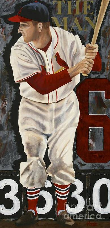 Stan Musial Poster featuring the painting Stan Musial by Terry Hester