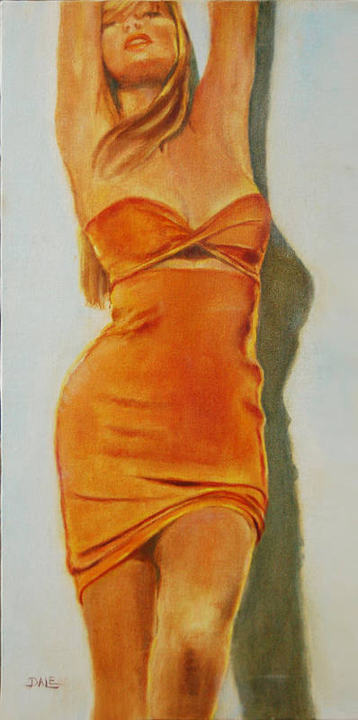 Woman Poster featuring the painting Woman In Orange Dress by Dale Estka