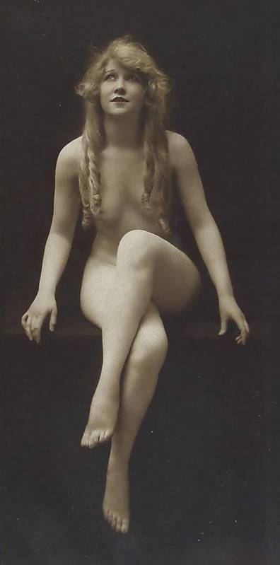 Girl Woman Female Nude Nakes Erotic Sexy Beauty Long Hair Sitting Vintage Sw Bw Black White Photograph Legs Breast Boobs Poster featuring the pyrography Nude Girl 1915 by Steve K