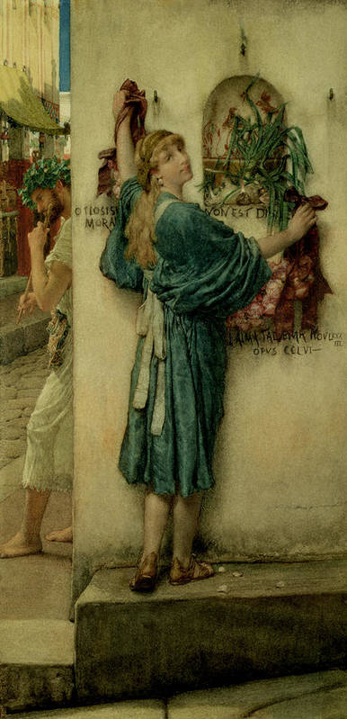 The Poster featuring the painting The Street Altar by Sir Lawrence Alma-Tadema