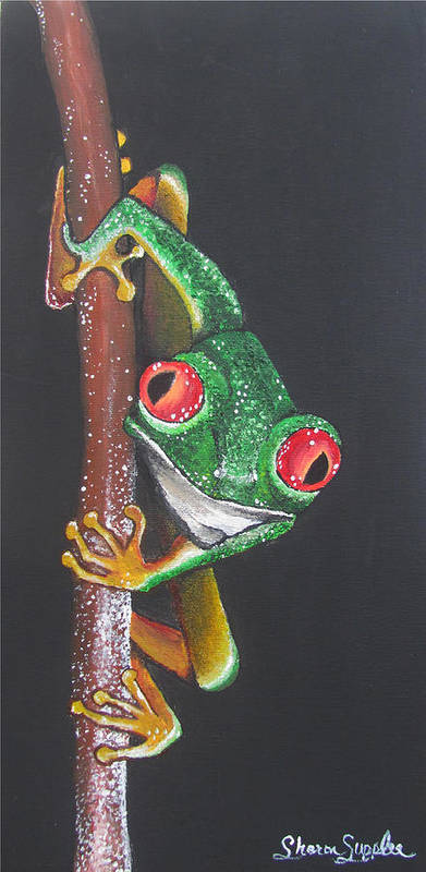 Frog Poster featuring the painting That Makes You The Fly by Sharon Supplee