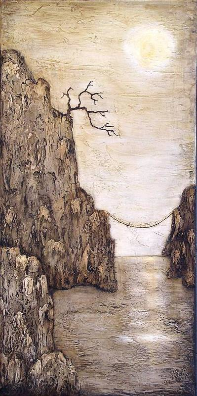 Cliff Poster featuring the painting Balancing Act by Linda Carmel