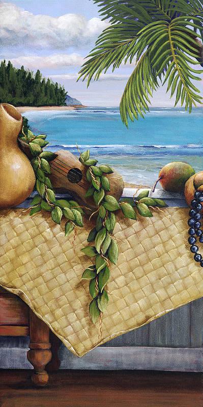 Acrylic Poster featuring the painting Hawaiian Still Life Panel by Sandra Blazel - Printscapes