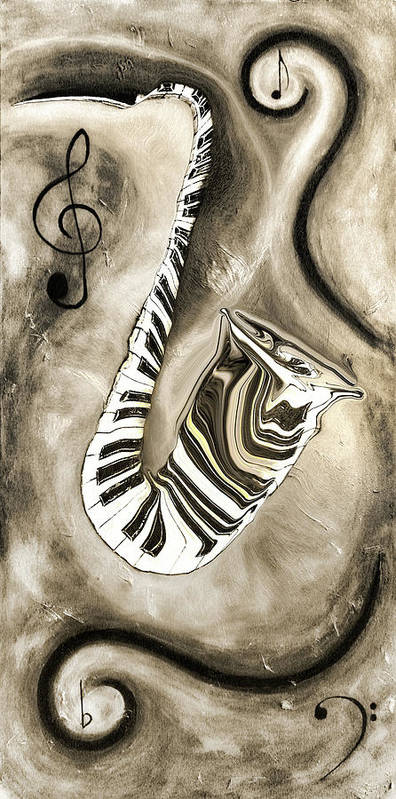 Abstract Piano Key Reflections In The Saxophone 3 - Music In Motion Poster featuring the mixed media Piano Keys In A Saxophone 3 - Music In Motion by Wayne Cantrell