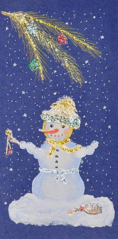 Snowman Poster featuring the painting After A Long Night by Georgeta Blanaru