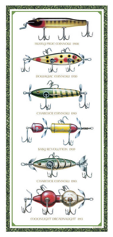 Jon Q Wright Poster featuring the painting Antique Lure Panel by JQ Licensing