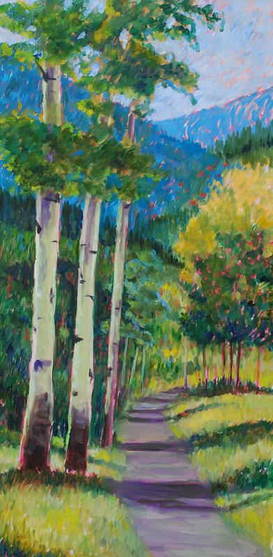 Aspen Tree Art Poster featuring the painting Aspen Trails by Billie Colson
