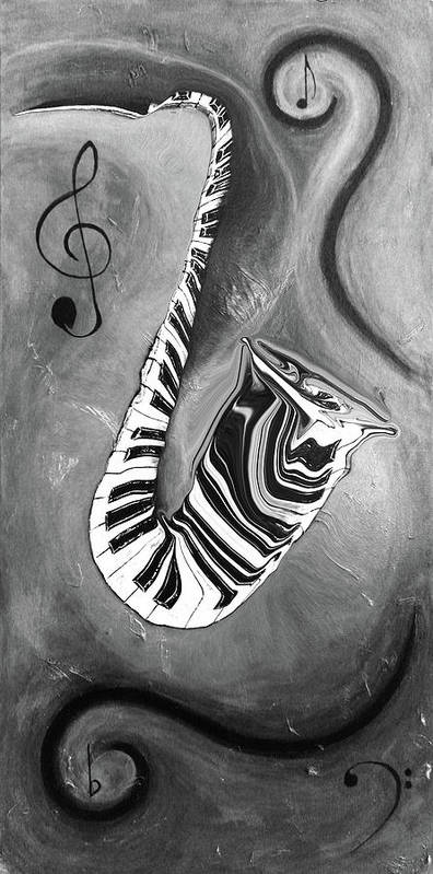 B & W Abstract Piano Key Reflections In The Saxophone - Music In Motion Poster featuring the mixed media Piano Keys In A Saxophone B/w - Music In Motion by Wayne Cantrell