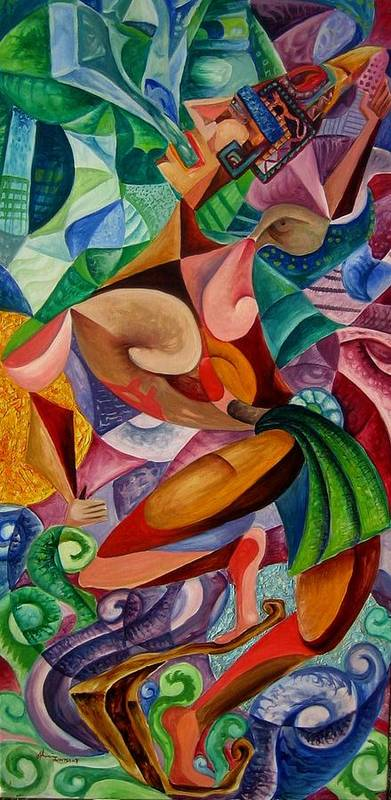 Painting Paintings Mexican Art Painting Poster featuring the painting Balancing With What Is Given by Horacio Montes