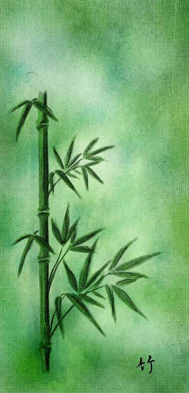Abstract Poster featuring the digital art Bamboo by Svetlana Sewell