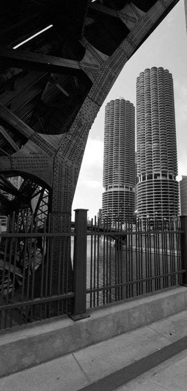 Chicago Poster featuring the photograph Chicago Bridge And Buildings by Dmitriy Margolin