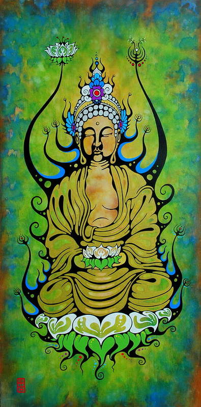 Buddha Poster featuring the painting Crowned Buddha by John Benko