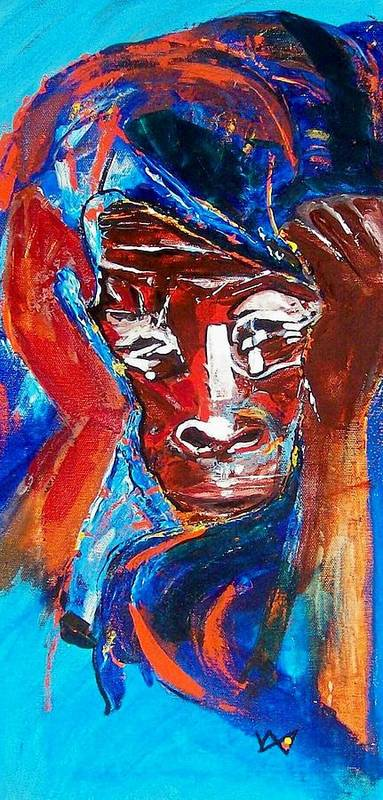 Darfur Poster featuring the painting Darfur - She Cries by Valerie Wolf