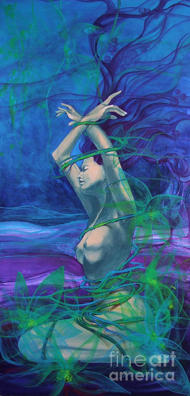 Art Poster featuring the painting Entangled In Your Love... by Dorina Costras