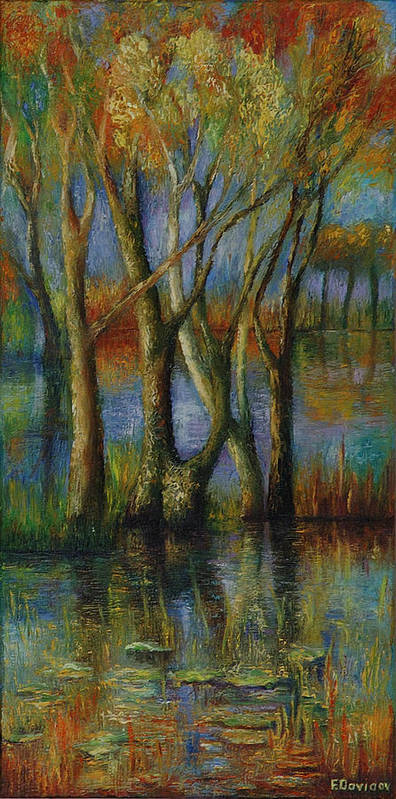 Landscape Poster featuring the painting Fall. by Evgenia Davidov