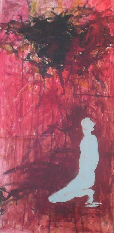 Figure Poster featuring the painting Figure Under Black Cloud by Aleksandra Buha