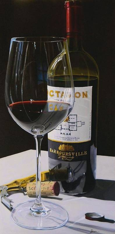 Wine Art Poster featuring the painting Finest Hour by Brien Cole